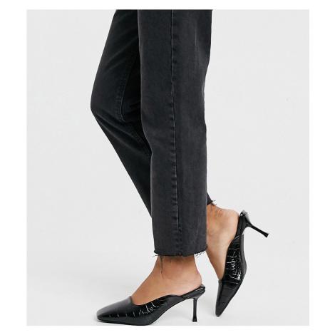 Z_Code_Z Exclusive Allia vegan kitten heeled mules in black croc