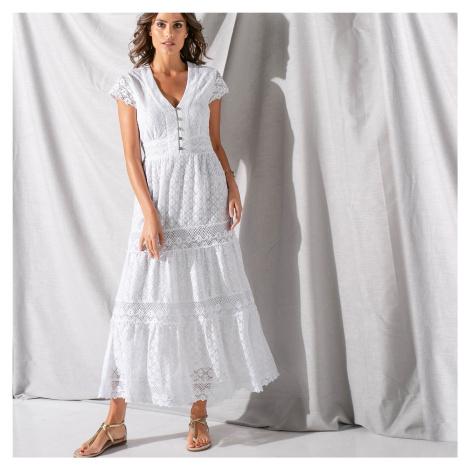 Blancheporte Dlouhé šaty s krajkou a macramé bílá