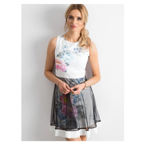 Ecru cocktail dress with a tulle skirt Fashionhunters