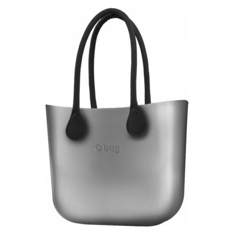 O bag kabelka Silver s černými dlouhými koženkovými držadly