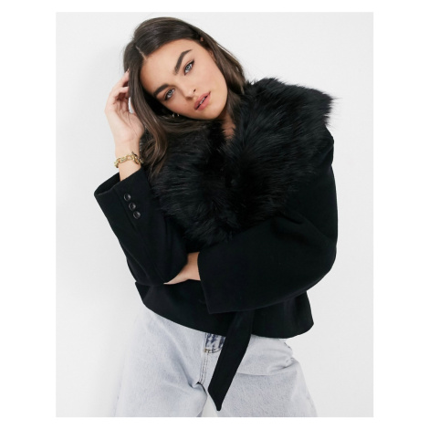 & Other Stories faux fur trim wool mix belted coat-Black