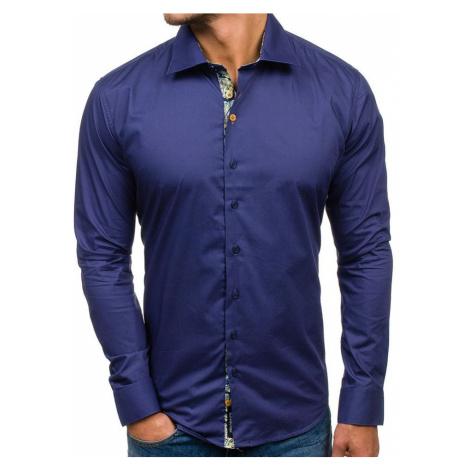 Tmavě modrá pánská elegantní košile s dlouhým rukávem 9983 GLO-STORY