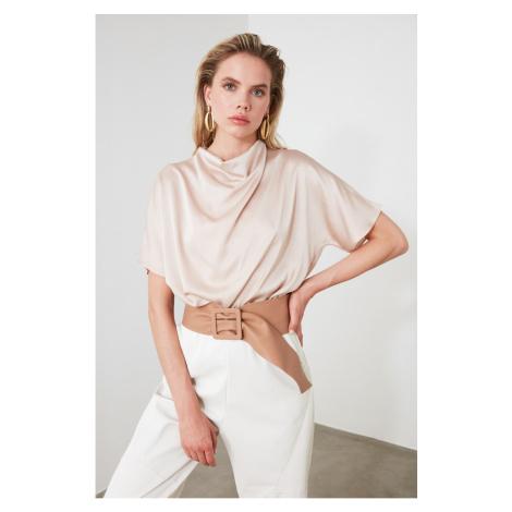 Trendyol Beige Degaje Collar Blouse