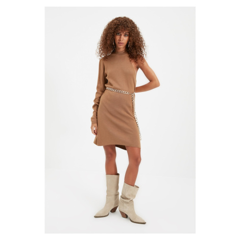Trendyol Brown One Shoulder Knitwear Dress