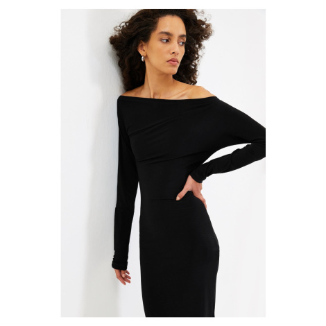 Trendyol Black One Shoulder Knitted Dress