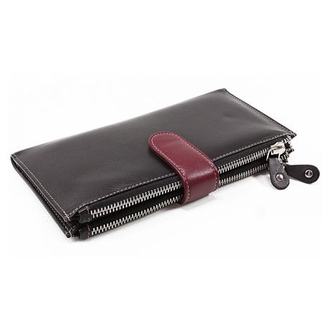 Velká kožená černá peněženka se zápinkou Sophia Arwel