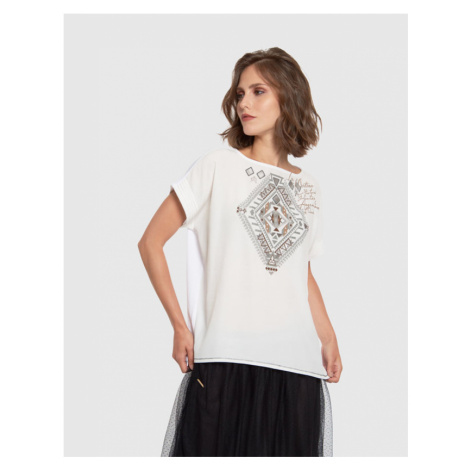Tričko La Martina Woman Tshirt S/S Viscose Voile - Bílá
