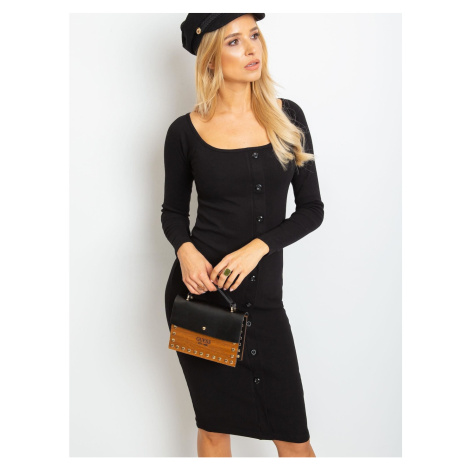Black ribbed dress with buttons Fashionhunters