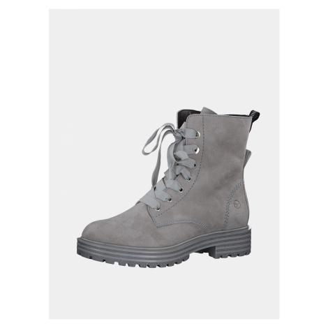 Tamaris šedé kožené zimní boty
