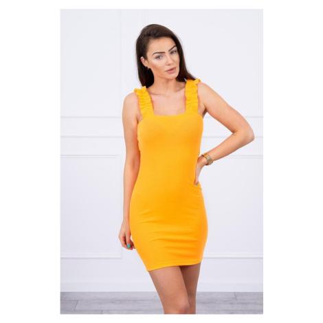 Dress with frills on the straps orange neon Kesi