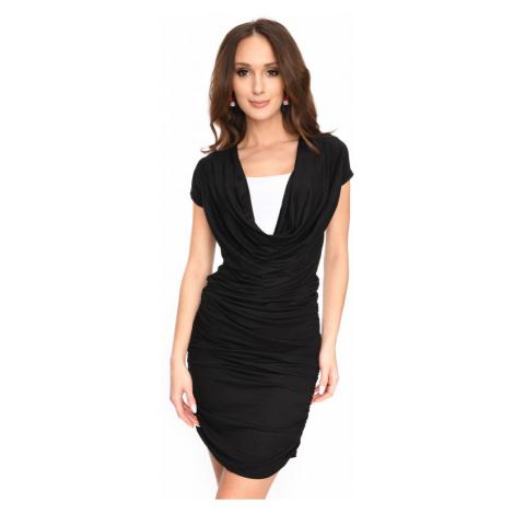 Dlouhé šaty s řasením a krátkým rukávem barva černá