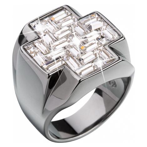 Stříbrný prsten s krystaly bílý kříž 35811.1 Victum