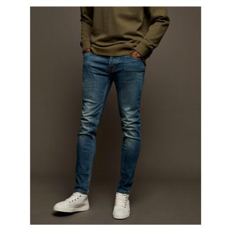 Topman stretch skinny jeans in mid wash-Blue