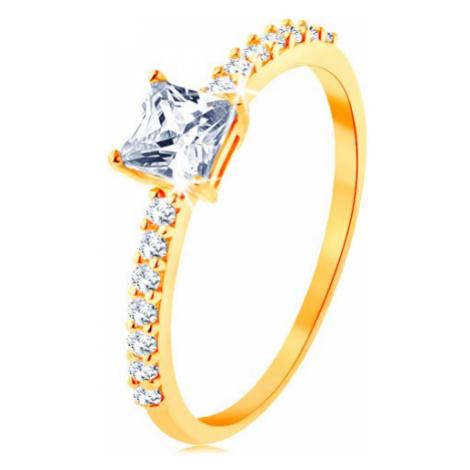 Prsten ve žlutém 14K zlatě - vystupující zirkonový čtverec, linie čirých zirkonků Šperky eshop