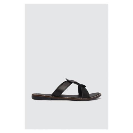 Trendyol Black Genuine Leather Women Slippers