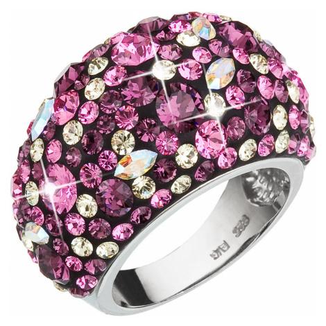 Evolution Group Stříbrný prsten s krystaly Swarovski fialový 35028.3 amethyst