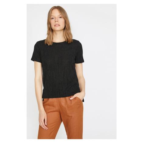 Koton Women's Black Bike Collar Short Sleeve T-Shirt