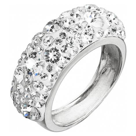Stříbrný prsten s krystaly Swarovski bílý 35031.1 Victum