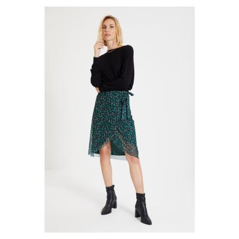 Trendyol Green Tie Detailed Tulle Knitted Skirt