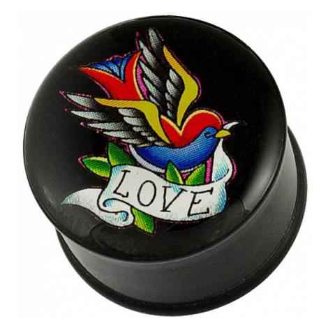 Plug do ucha - pestrobarevný ptáček, stuha a nápis LOVE - Tloušťka piercingu: 23,5 mm Šperky eshop