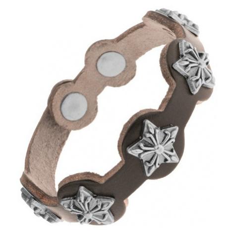 Kožený náramek černé barvy, matné patinované hvězdy z oceli Šperky eshop