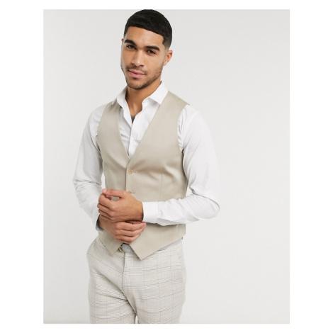 ASOS DESIGN wedding skinny waistcoat in stone cotton
