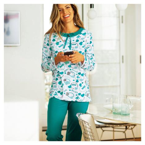 Blancheporte Pyžamo s potiskem srdcí smaragdová