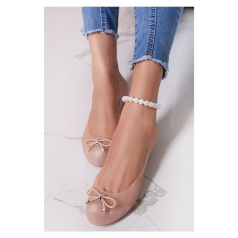 Béžové gumené baleríny Mina Ideal