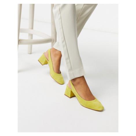 ASOS DESIGN Scottie premium suede slingback block heels in chartreuse-Yellow