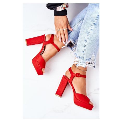 Suede High Heel Sandals Red Camilia Kesi
