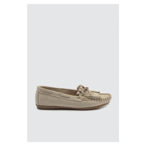 Trendyol Women's Loafer Shoes with Beige Cori leather tassels