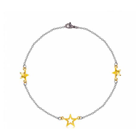 Ocelový náramek - tři hvězdy ve zlaté barvě, jemný řetízek Šperky eshop