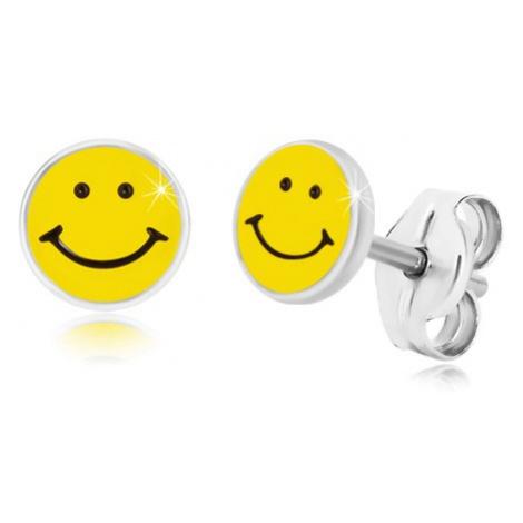 Náušnice ze stříbra 925 - usmívající se smajlík, černo-žlutá glazura, puzetky Šperky eshop