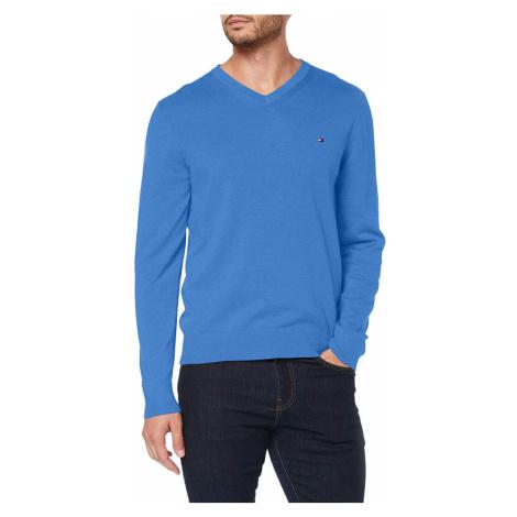 Tommy Hilfiger pánský světle modrý svetr s výstřihem do V