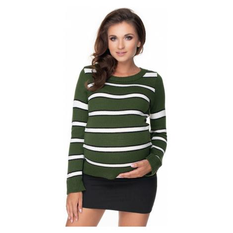 Zelený proužkovaný těhotenský pulovr 40044 PeeKaBoo