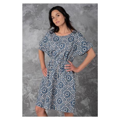 Letní lněné vzorované šaty