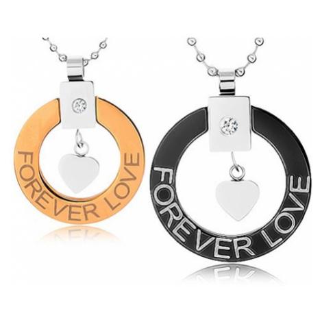 "Náhrdelníky pro dva z chirurgické oceli, obrys kruhu, srdíčko, ""Forever love"" Šperky eshop"