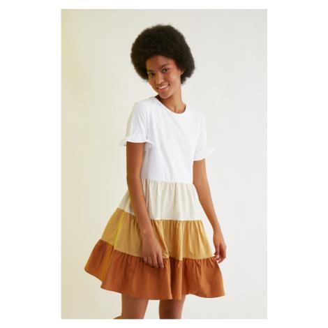 Trendyol Camel Color Block Ruffle Dress