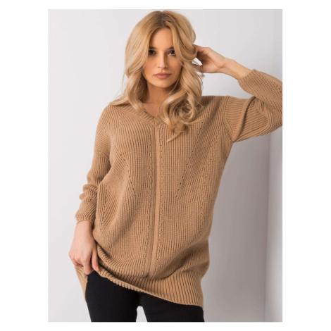 RUE PARIS Light brown long sweater Fashionhunters