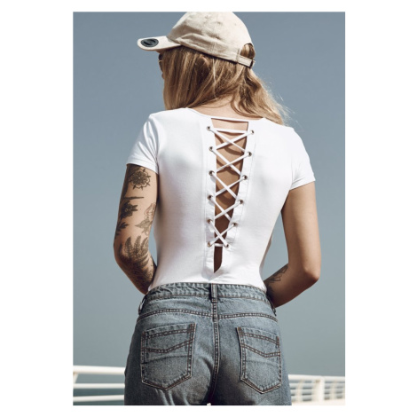 Ladies Lace Up Body - white Urban Classics