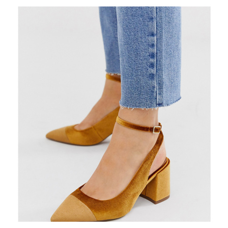 ASOS DESIGN Wide Fit Squire pointed mid-heels in ochre velvet-Yellow