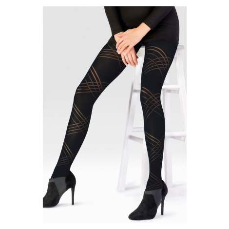 Dámské punčochové kalhoty Diagonal Lines 60DEN černá Pretty Polly