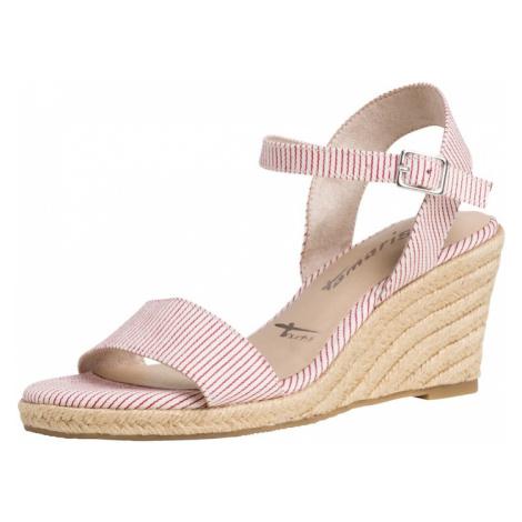 TAMARIS Páskové sandály červená / bílá