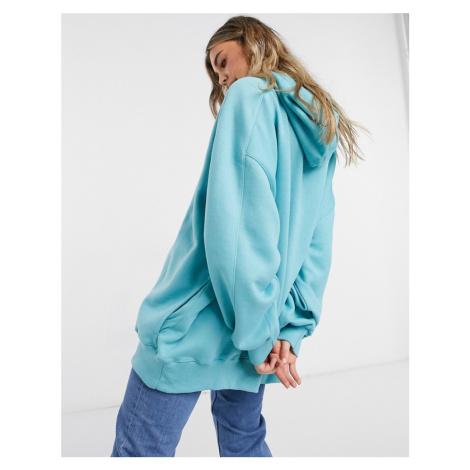 Bershka oversized hoodie in teal-Blue