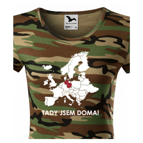 Dámské triko pro cestovatele Tady jsem doma - s mapou Evropy BezvaTriko