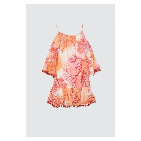 Trendyol Orange V-Neck Pom-Pom Dress