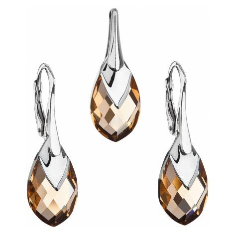 Sada šperků s krystaly Swarovski náušnice a přívěsek zlatá slza 39169.4 Victum