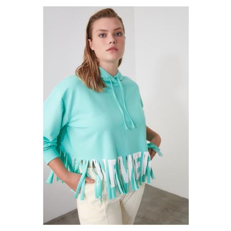 Trendyol Mint Printed Tassel Detailed Oversize Hooded Knitted Sweatshirt