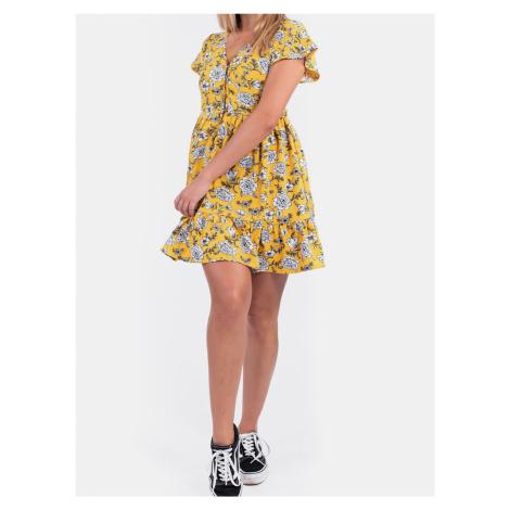 Culito from Spain žluté květované šaty Midi Amarillo Mini Flor