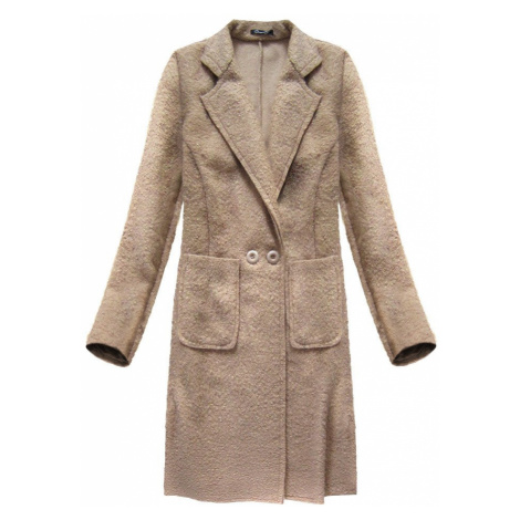 Béžový beránkový kabát s límcem (5187) Made in Italy